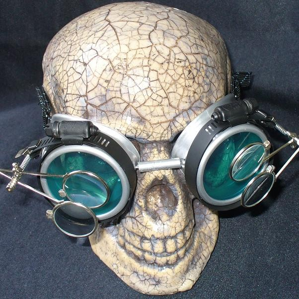 Silver Apocalypse Goggles w/ Blue Lenses & Two Eye Loupe