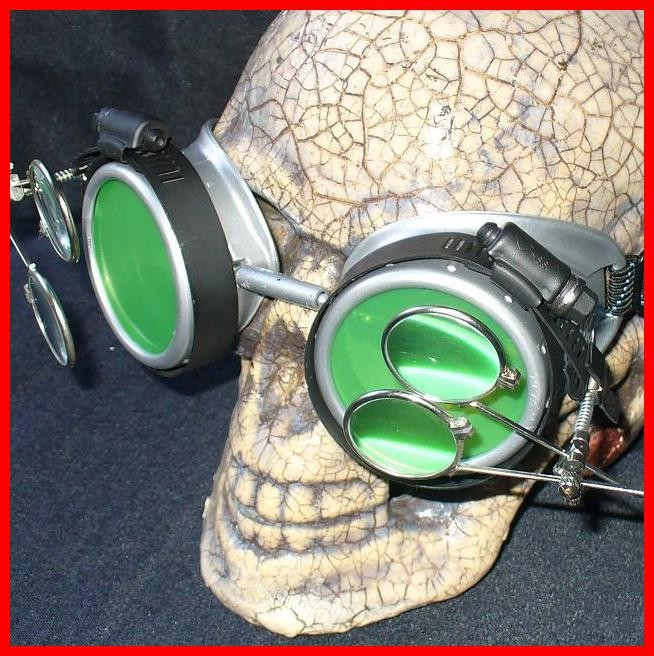 Silver Apocalypse Goggles: Green Lenses w/ Two Eye Loupes