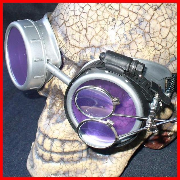 Silver Apocalypse Goggles: Purple Lenses & Eye Loupe