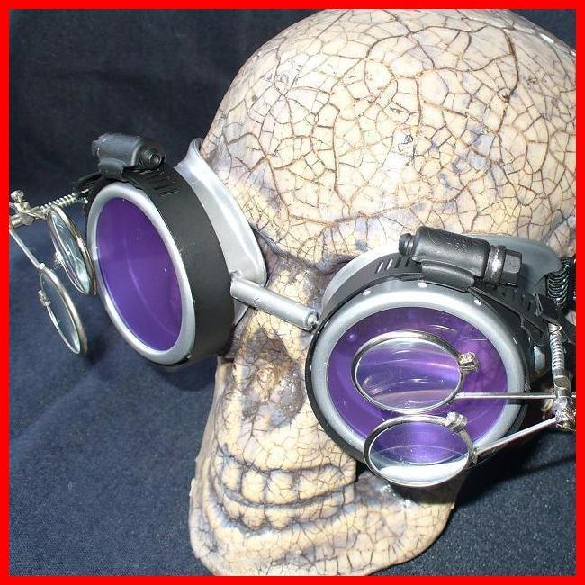 Silver Apocalypse Goggles: Purple Lenses w/ Two Eye Loupes