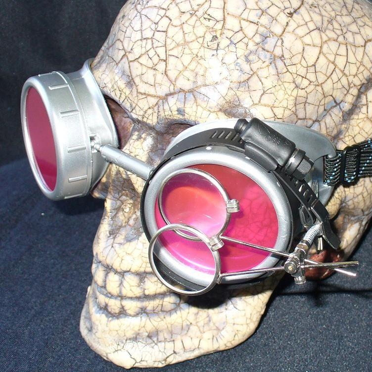 Silver Apocalypse Goggles: Pink Lenses & Eye Loupe
