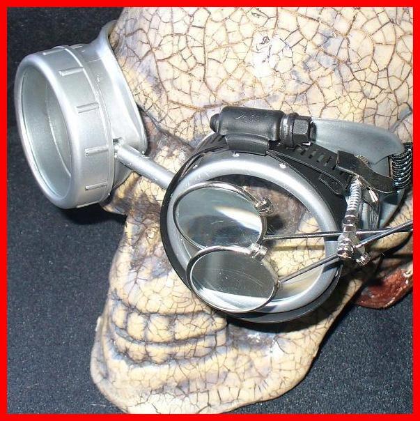 Silver Apocalypse Goggles: Clear Lenses w/ Eye Loupe