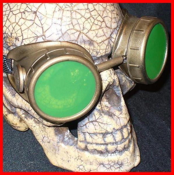 Gold Apocalypse Goggles: Green Lenses