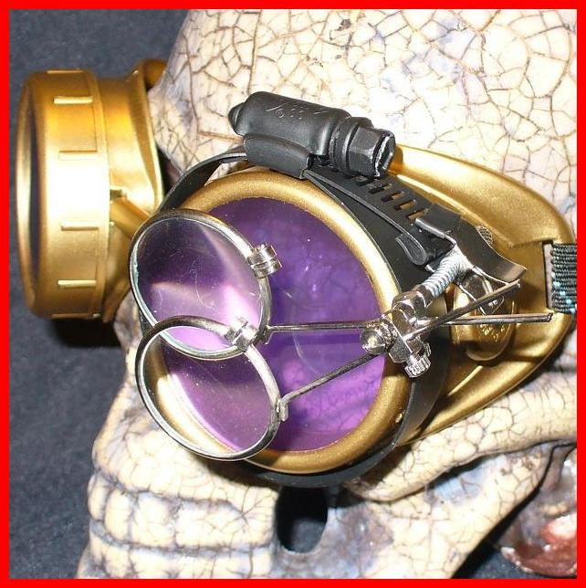 Gold Goggles: Purple Lenses w/ Eye Loupe