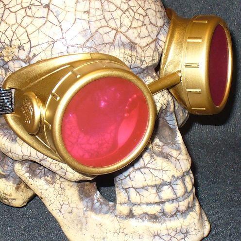 Gold Apocalypse Goggles: Pink Lenses
