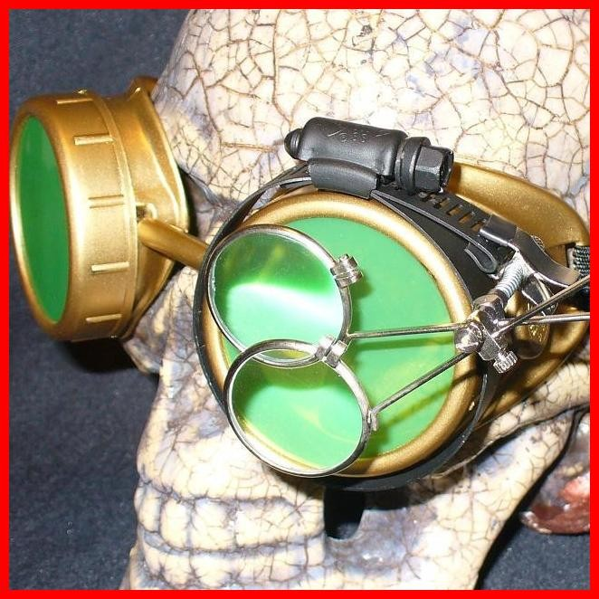 Gold Apocalypse Goggles: Green Lenses w/ Eye Loupe