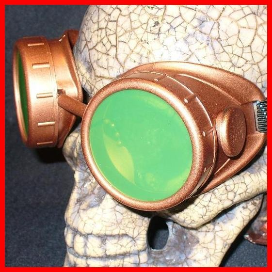 Copper Apocalypse Goggles: Green Lenses