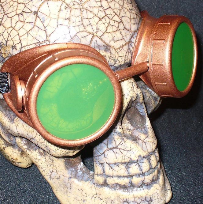 Copper Apocalypse Goggles: Green Lenses