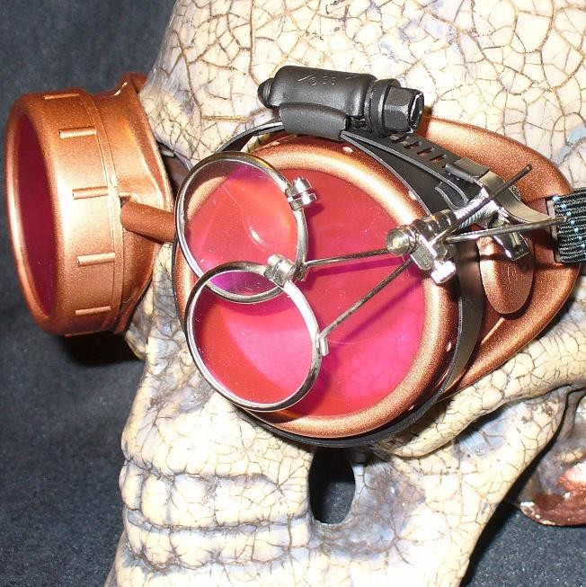 Red Apocalypse Goggles: Red Lenses w/ Eye Loupe