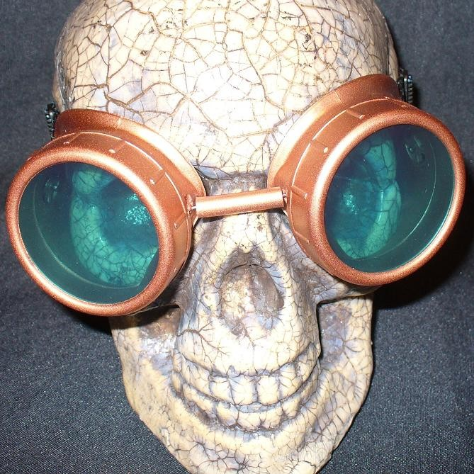 Copper Apocalypse Goggles: Blue Lenses
