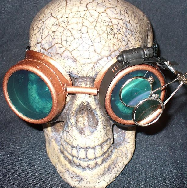 Copper Goggles: Blue Lenses w/ & Eye Loupe