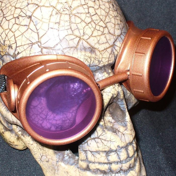 Copper Apocalypse Goggles: Purple Lenses