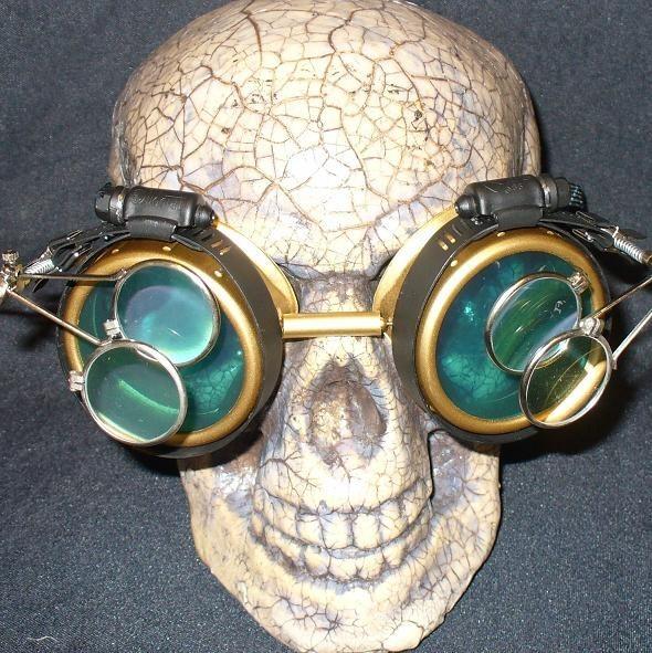 Gold Apocalypse Goggles w/ Sea Blue Lenses & Two Eye Loupe