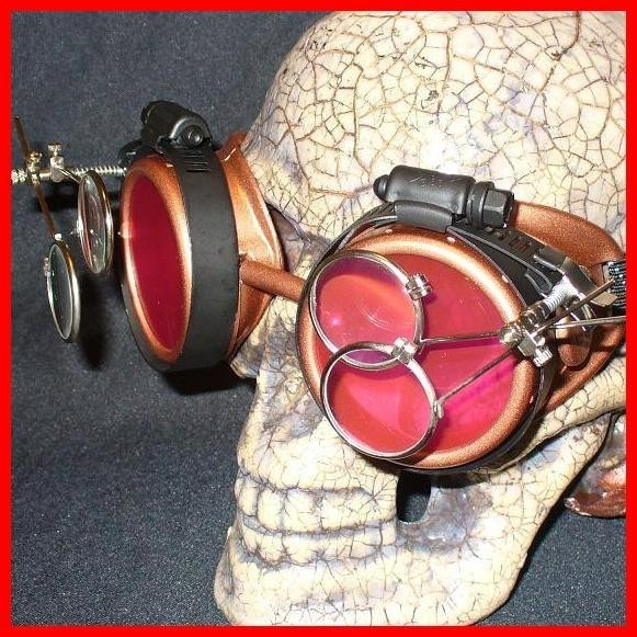 Copper Apocalypse Goggles: Red Lenses w/ Two Eye Loupes