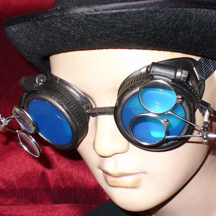 Black Goggles: Blue Lenses w/ Two Eye Loupes