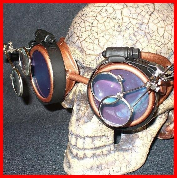Copper Apocalypse Goggles: Purple Lenses w/ Two Eye Loupes
