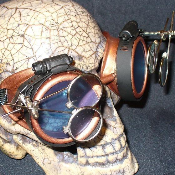 Copper Apocalypse Goggles: Purple Lenses w/ Two Eye Loupes