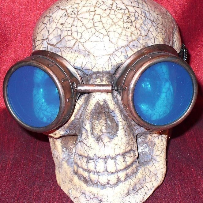 Copper Toned Apocalypse Goggles: Blue Lenses