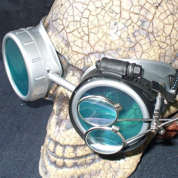 Silver Apocalypse Goggles: Blue Lenses w/ Eye Loupe