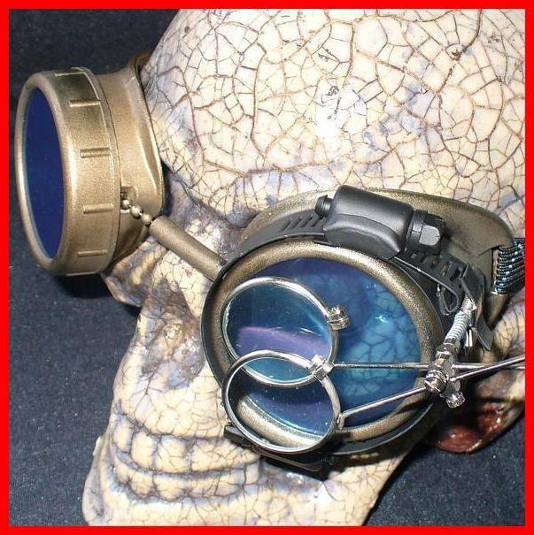Dark Brown Apocalypse Goggles: Blue Lenses w/ Eye Loupe