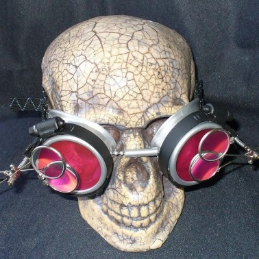 Silver Apocalypse Goggles w/ Red Lenses & Two Eye Loupe