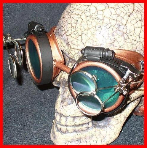 Copper Apocalypse Goggles: Blue Lenses & Two Eye Loupes