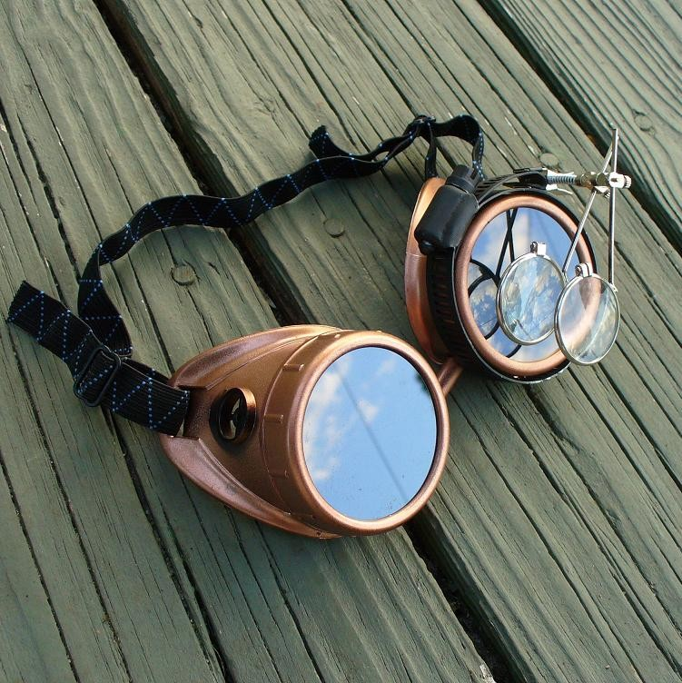 Copper Goggles: Dark Lenses w/ Eye Loupe