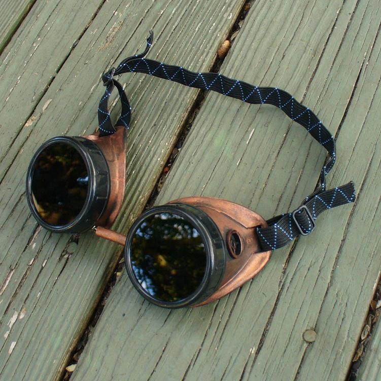 Copper & Black Goggles: Dark Lenses