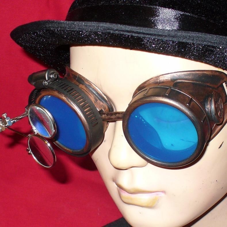 Copper Toned Goggles: Blue Lenses w/ Eye loupe