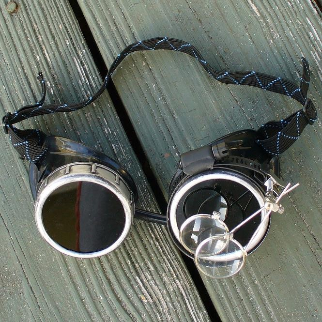 Black Toned Goggles: Dark Lenses w/ Eye Loupe