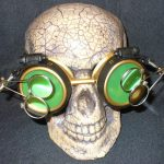 Gold Apocalypse Goggles w/ Green Lenses & Two Eye Loupe