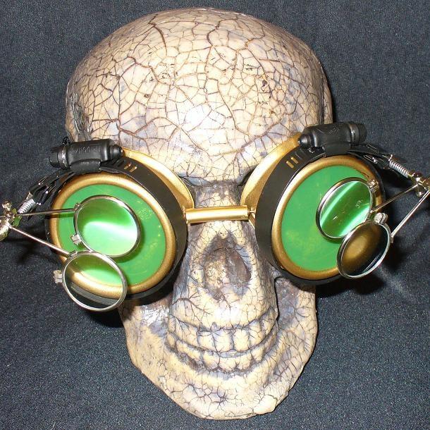 Gold Apocalypse Goggles w/ Green Lenses & Two Eye Loupe