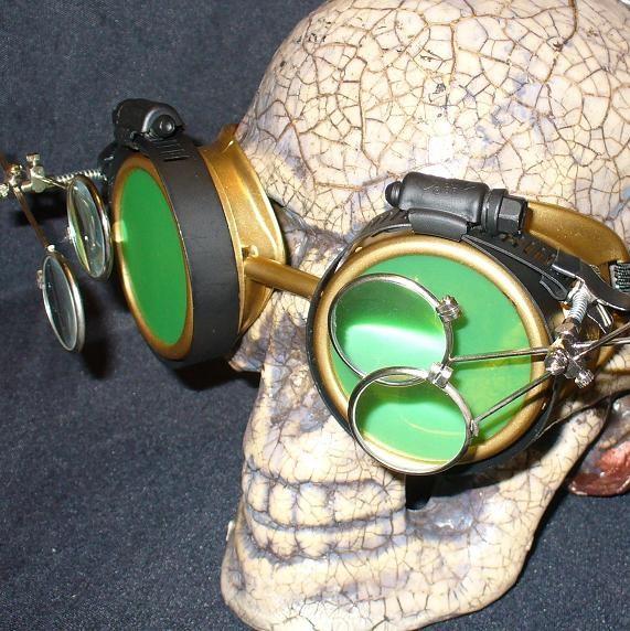 Gold Apocalypse Goggles w/ Green Lenses & Two Eye LoupeGold Apocalypse Goggles w/ Green Lenses & Two Eye Loupe