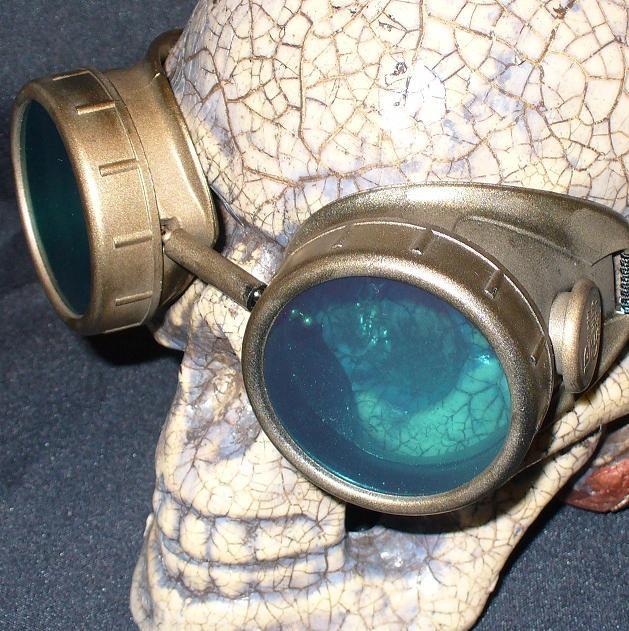 Gold Apocalypse Goggles: Blue Lenses