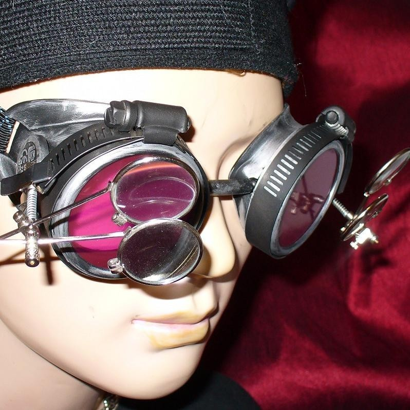 Silver Toned Goggles: Pink Lenses & Two Eye Loupes