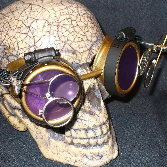 Gold Apocalypse Goggles w/ Purple Lenses & Two Eye Loupe