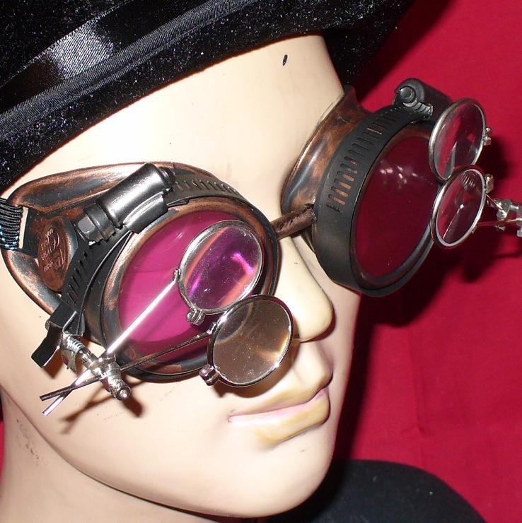 Copper Toned Goggles: Pink Lenses w/ Two Eye Loupes