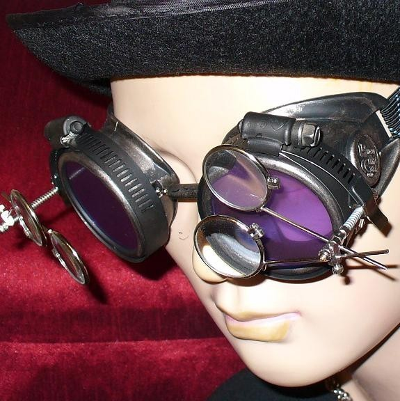 Brown Toned Goggles: Purple Lenses & Two Eye Loupes