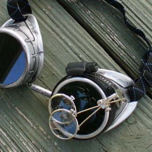 Silver Goggles: Dark Lenses w/ Eye Loupe