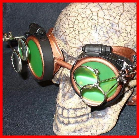Copper Apocalypse Goggles: Green Lenses & Two Eye Loupes