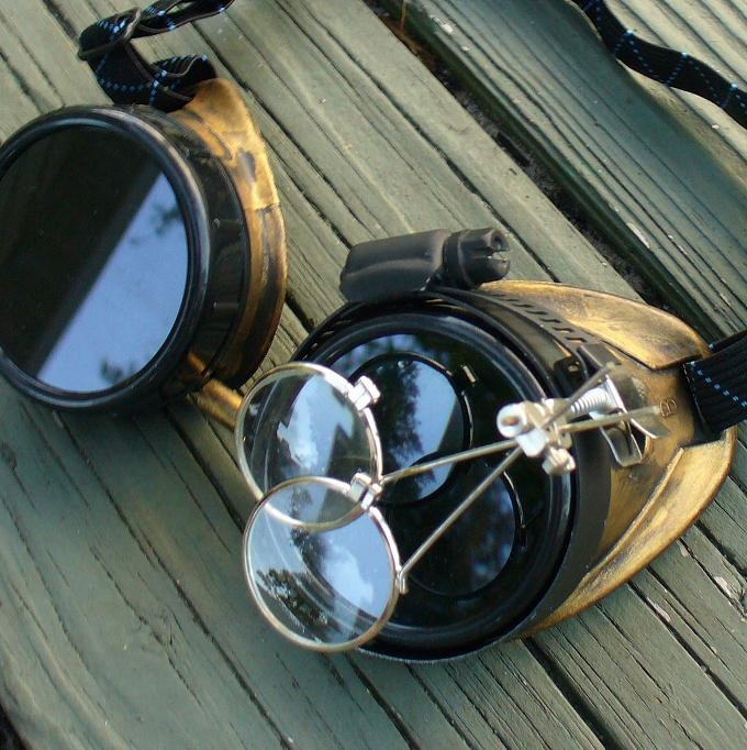 Gold & Black Toned Goggles: Dark Lenses w/ Eye Loupe