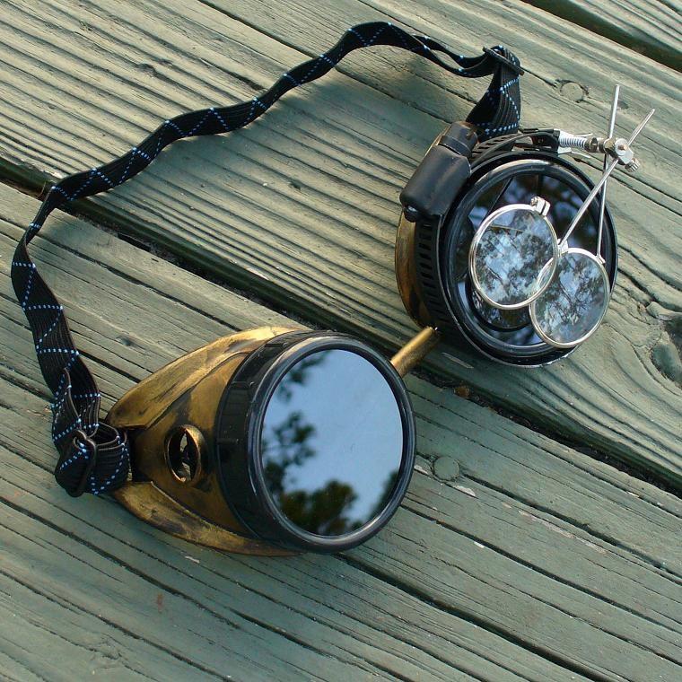 Gold & Black Toned Goggles: Dark Lenses w/ Eye Loupe