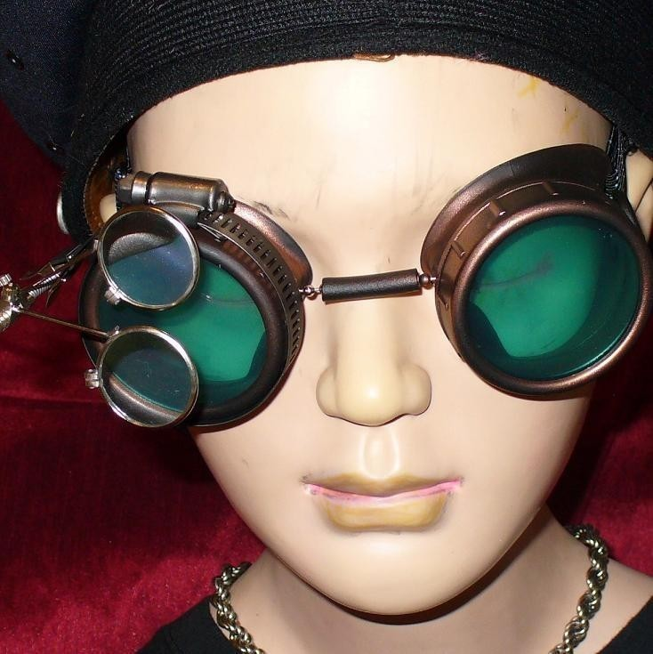 Brown Toned Goggles: Green Lenses w/ Eye Loupes