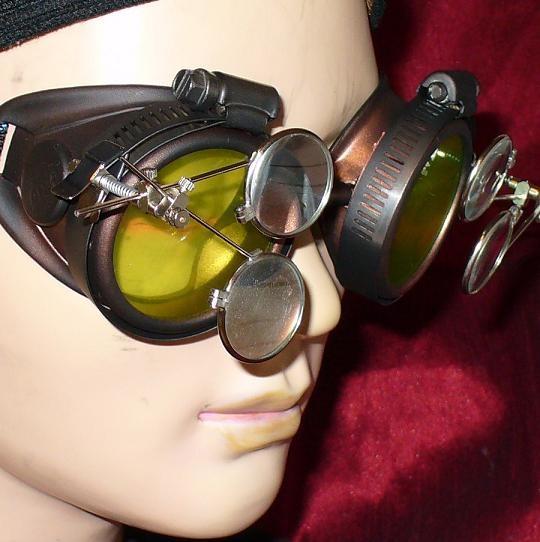 Dark Brown Goggles: Green Lenses w/ Two Eye Loupes