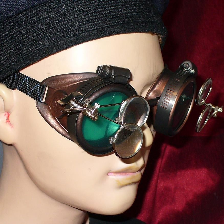 Copper Toned Goggles: Blue Lenses w/ Two Eye Loupes