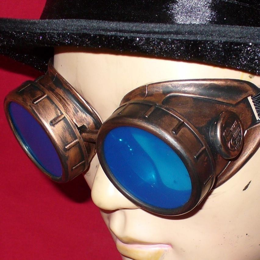 Copper Toned Goggles: Blue Lenses