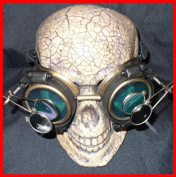 Shiny Gold Apocalypse Goggles: Blue Lenses & Double Eye Loupe
