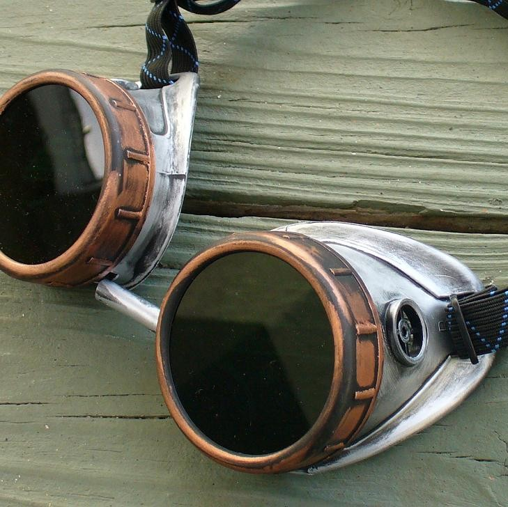 Copper Toned Goggles: Dark Lenses