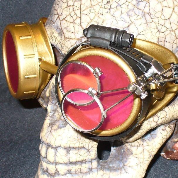 Gold Apocalypse Goggles: Pink Lenses w/ Eye Loupe
