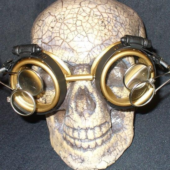Gold Apocalypse Goggles: Clear Lenses & Two Eye Loupes